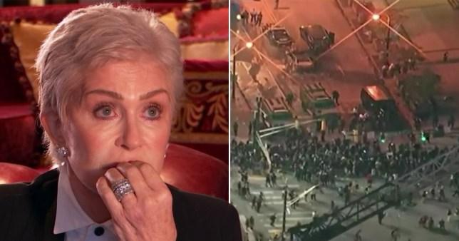 Sharon Osbourne crying pictured alongside images of Black Lives Matter protest