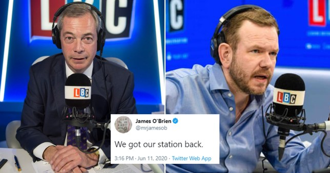 Composite image of James O'Brien and Nigel Farage