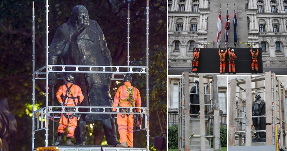 Churchill statue and Cenotaph boarded up ahead of weekend protests