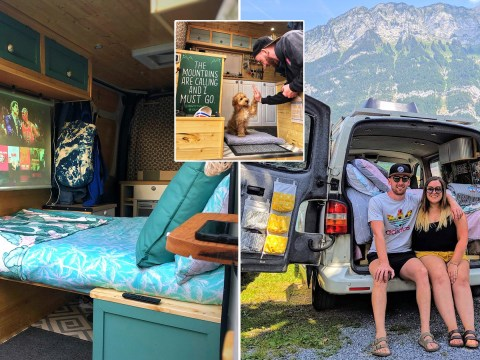 Couple quit the traditional nine-to-five to travel Europe with their dog in a renovated motorhome