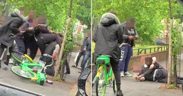 Three men and a boy, 13, have been charged with assaulting an emergency worker  after a police officer was filmed being thrown to the ground in Hackney.
