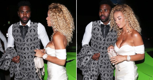 Jason Derulo pictured arriving at restaurant in his sports car with girlfriend Jena Frumes