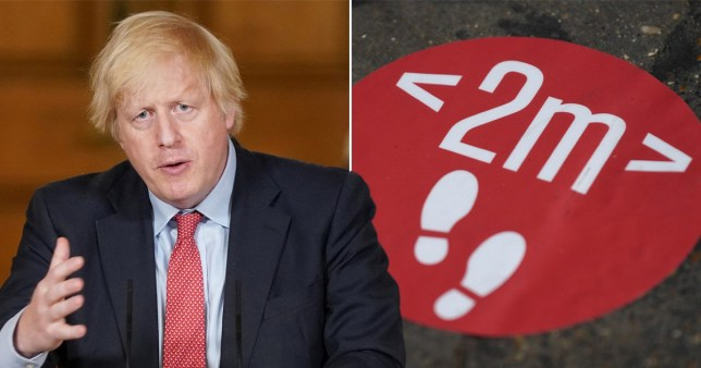 Boris Johnson has ordered ministers to review the two metre social distancing rules.