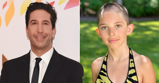 David Schwimmer pictured alongside photo of his daughter Cleo with shaven head