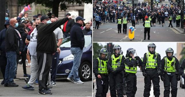 Riot police control crowds in Glasgow
