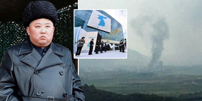 Composite image of North Korean leader Kim Jong un and smoke rising from the inter liaison building that was blown up