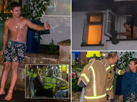 Barefoot and shirtless man runs into a burning flat twice to save his neighbour
