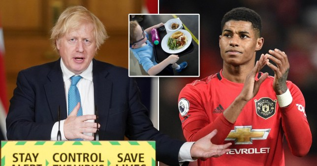Boris Johnson (left) pupil with free school meal (centre) and Manchester United footballer Marcus Rashford (right)