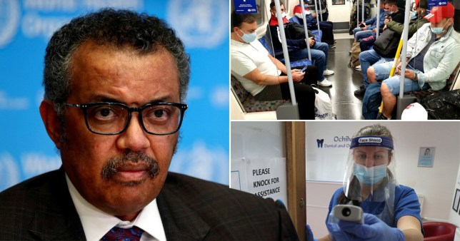 World Health Organisation (WHO) chief Tedros Adhanom (left) commuters wearing face masks on the London Underground and medical worker wearing full PPE
