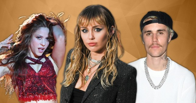 Miley Cyrus, Shakira and Justin Bieber pictured separately alongside each other