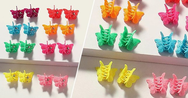 an assortment of colourful butterfly clips