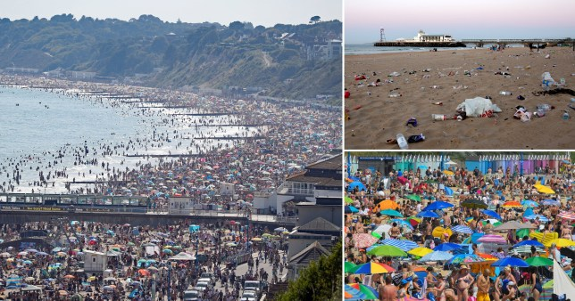 Crowds gather on the beach in Bournemouth, where a major incident has been declared