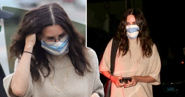Courteney Cox arrives for dinner at Giorgio Baldi in Santa Monica wearing a face mask