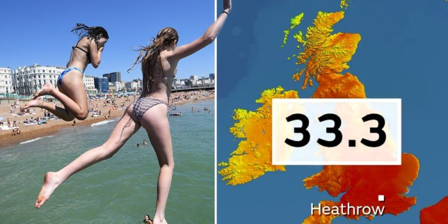Composite image showing people at a beach and UK weather map