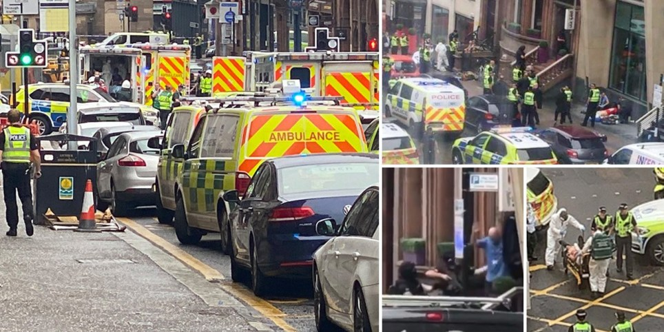 Police rush to West George Street in Glasgow following reports of 'multiple stabbings' including a police officer