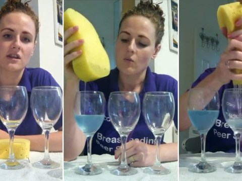 Woman illustrates the three stages of breastfeeding using wine glasses and a sponge
