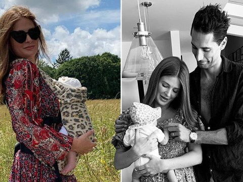 Millie Mackintosh takes new baby Sienna for a walk after reminiscing about wedding
