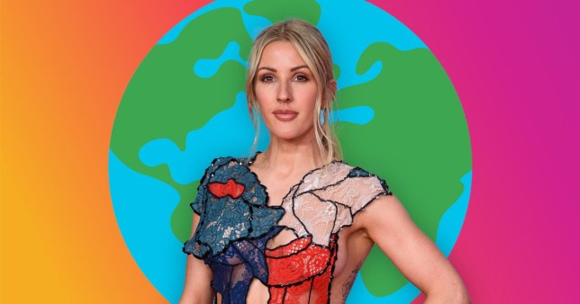 Ellie Goulding pictured in front of a globe