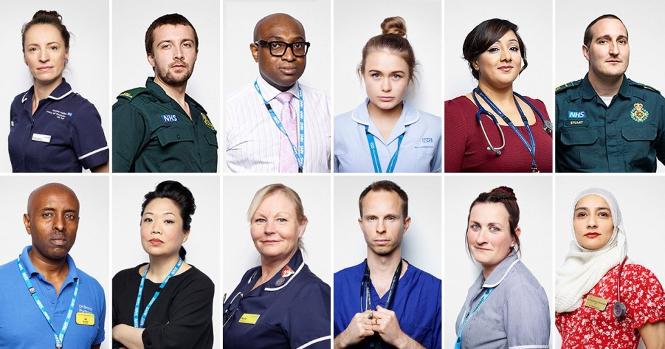 Frontline NHS staff were photographed