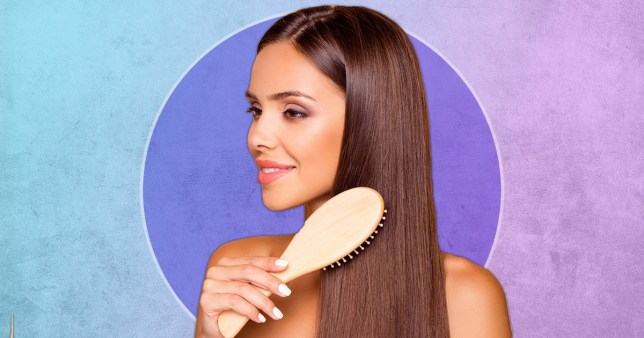 woman brushing her hair on colourful background