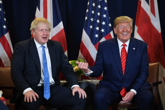 TOPSHOT - US President Donald Trump and British Prime Minister Boris Johnson hold a meeting at UN Headquarters in New York, September 24, 2019, on the sidelines of the United Nations General Assembly. (Photo by SAUL LOEB / AFP) (Photo by SAUL LOEB/AFP via Getty Images)