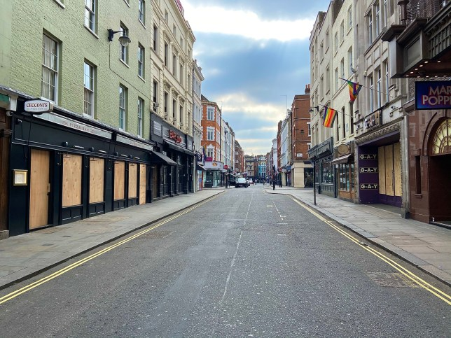 London, United Kingdom - April 18 2020: Old Compton Street in Soho during lockdown empty no people