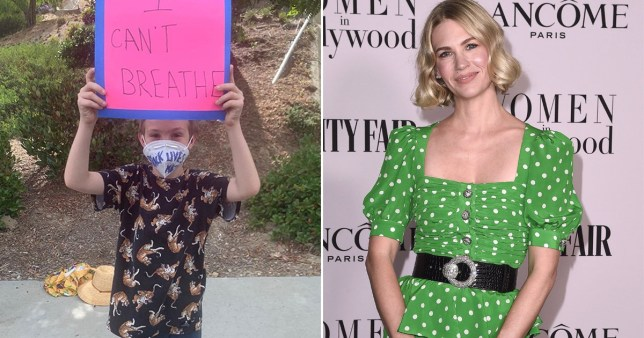 January Jones shows rare pic of her son as she supports George Floyd protests