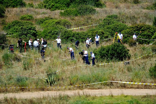 EMBARGOED TO 1915 WEDNESDAY JUNE 3 File photo dated 11/6/2014 of British police and their Portuguese counterparts investigating the disappearance of Madeleine McCann from Praia da Luz on the Algarve, in Portugal during a search of a patch of scrubland just outside of the small coastal town. A German prisoner has been identified as a suspect in the disappearance of Madeleine, detectives have revealed. The Metropolitan Police have not named the man, 43, who is described as white with short blond hair, possibly fair, and about 6ft tall with a slim build. PA Photo. Issue date: Wednesday June 3, 2020. The German national is known to have been in and around Praia da Luz on the Algarve coast at the time Madeleine van-ished on May 3 2007 while on holiday with her parents, Kate and Gerry McCann, and her twin siblings Sean and Amelie. See PA story POLICE Portugal. Photo credit should read: Nick Ansell/PA Wire