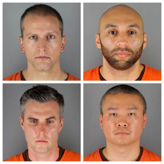 This combination of photos provided by the Hennepin County Sheriff's Office in Minnesota on Wednesday, June 3, 2020, shows, top row from left, Derek Chauvin, and J. Alexander Kueng, bottom row from left, Thomas Lane and Tou Thao. Chauvin is charged with second-degree murder of George Floyd, a black man who died after being restrained by him and the other Minneapolis police officers on May 25. Kueng, Lane and Thao have been charged with aiding and abetting Chauvin. (Hennepin County Sheriff's Office via AP)