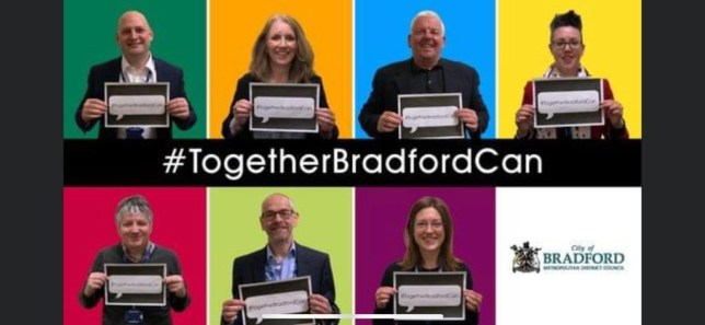 Unite Bradford poster only has white people on it Taken without permission from online source - from Bradford council Twitter originally https://twitter.com/aak1880/status/1267568020756537345 Picture: Bradford Council / Twitter