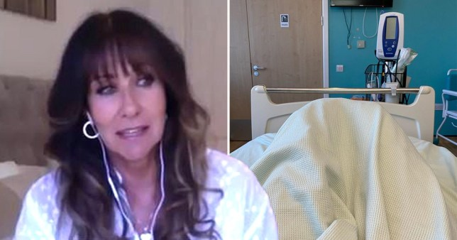 Linda Lusardi on video call pictured alongside photo of her hospital bed