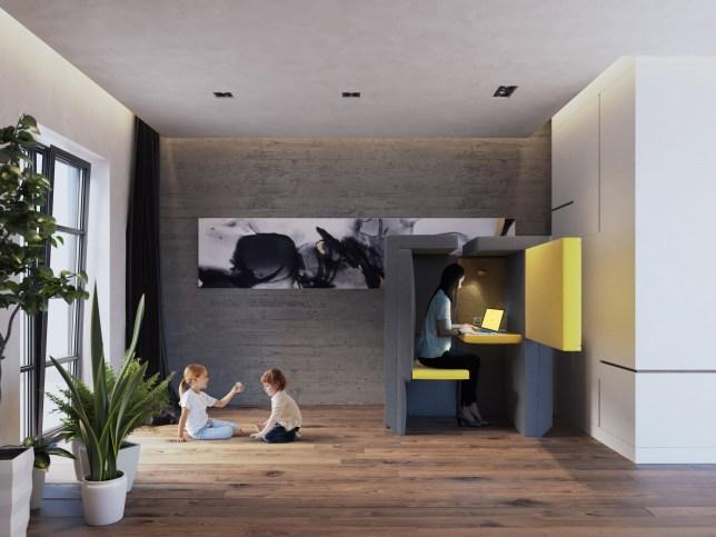 Sofa turns into mini workspace picture: