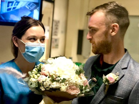Healthcare workers forced to cancel wedding due to coronavirus have makeshift celebration at hospital