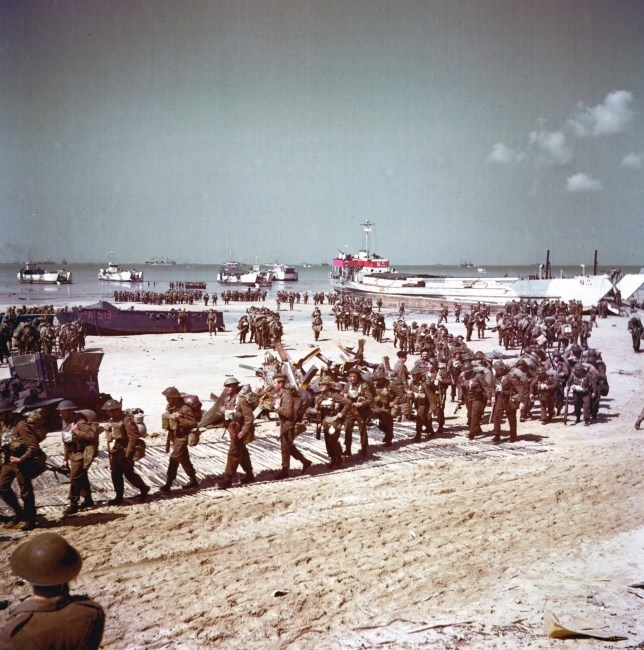 British soldiers at Juno Beach during the World War Two, D-Day landings in France 1944. (Photo by: Universal History Archive/Universal Images Group via Getty Images)