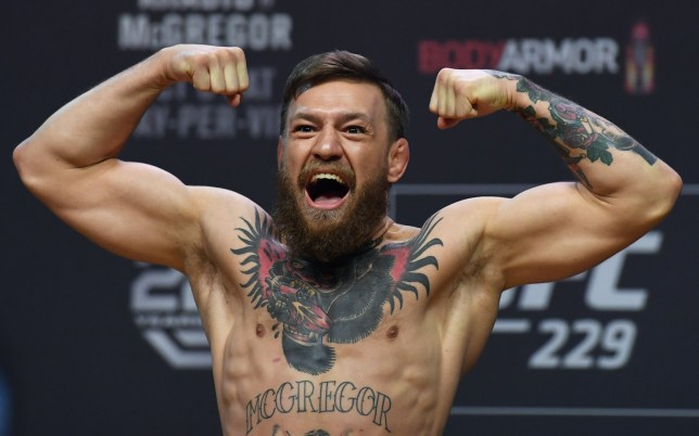 LAS VEGAS, NEVADA - OCTOBER 05: Conor McGregor poses during a ceremonial weigh-in for UFC 229 at T-Mobile Arena on October 05, 2018 in Las Vegas, Nevada. McGregor will challenge UFC lightweight champion Khabib Nurmagomedov for his title at UFC 229 on October 6 at T-Mobile Arena in Las Vegas. (Photo by Ethan Miller/Getty Images)