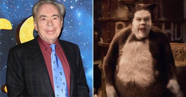Andrew Lloyd Webber pictured alongside still of James Corden in 2019 movie cats