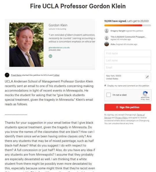 Le professeur d'université Gordon Klein suspendu par l'UCLA et placé sous la protection de la police après avoir refusé la demande d'un étudiant non noir pour une notation clémente des évaluations finales des étudiants noirs