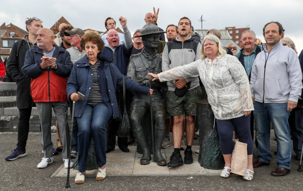 Local residents show their support for the statue of Robert Baden-Powell