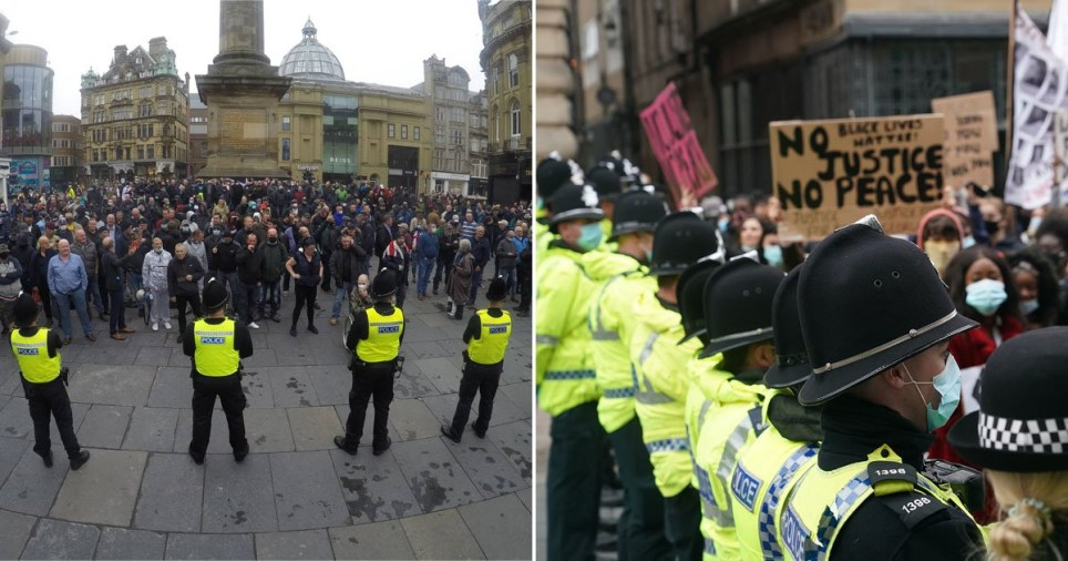 Composite image of police forming a barricade to separate protest groups in Newcastle
