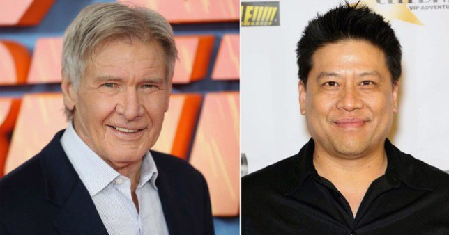 Harrison Ford pictured separately alongside Star Trek actor Garrett Wang