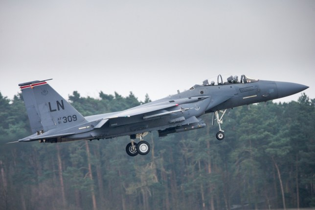 American F15 taking off at RAF Lakenheath in Suffolk American jets at RAF Lakenheath, Suffolk,