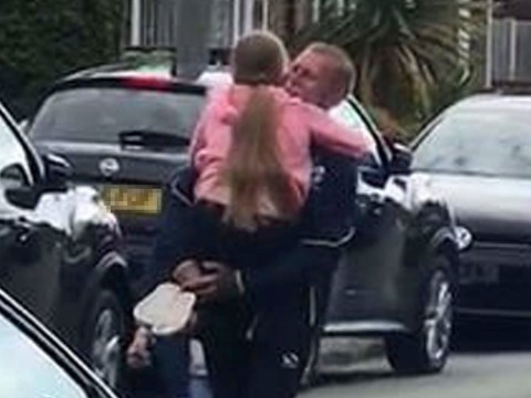 Moment girl, 9, can finally hug grandparents after 81 days apart
