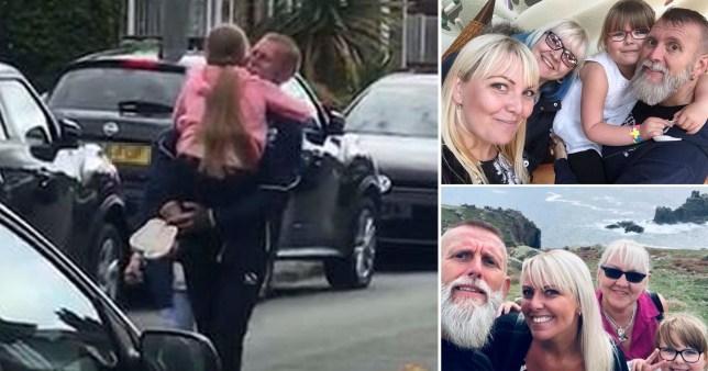 Grandaughter's hugs for her grandparents after 81days