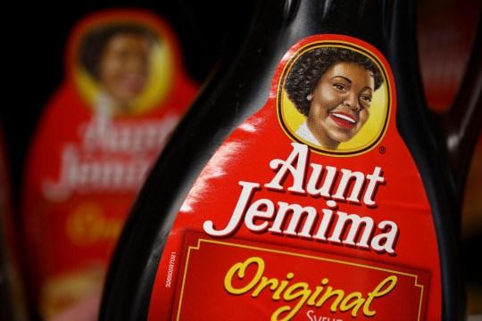Bottles of Aunt Jemima pancake syrup