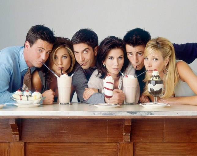 FRIENDS -- Season 2 -- Pictured: (l-r) Matthew Perry as Chandler Bing, Jennifer Aniston as Rachel Green, David Schwimmer as Ross Geller, Courteney Cox as Monica Geller, Matt LeBlanc as Joey Tribbiani, Lisa Kudrow as Phoebe Buffay