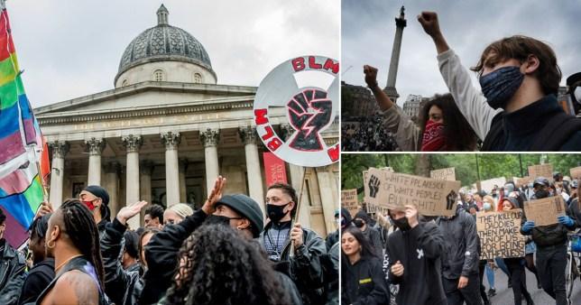 Composite image of black lives matter protesters