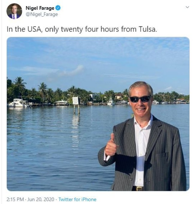 Nigel Farage tweeted about being in the USA