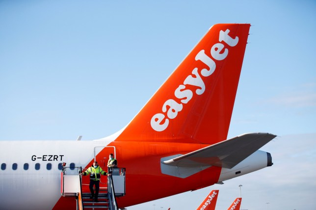 The tail of an EasyJet plane