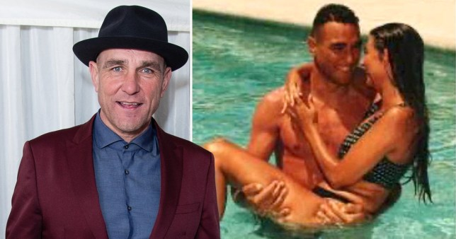 Vinnie Jones pictured separately alongside throwback photo of him and wife Tanya on honeymoon