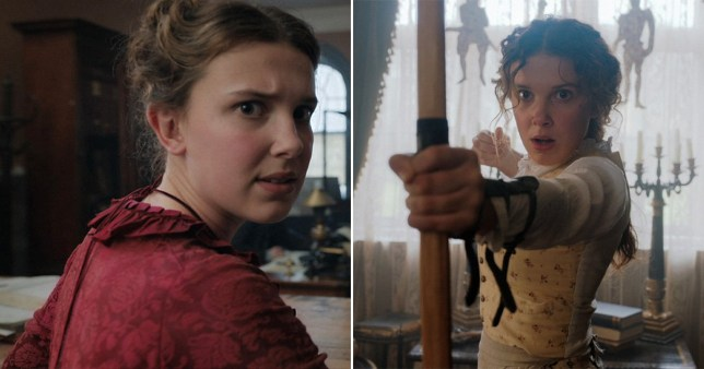 Millie Bobby Brown and Helena Bonham-Carter in Enola Holmes